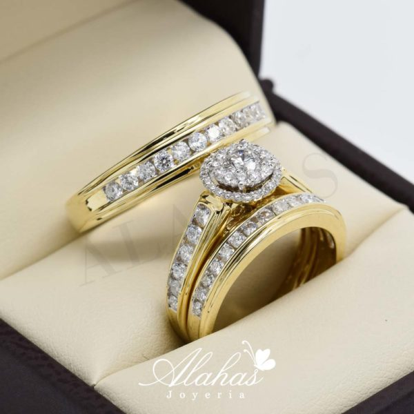 Trio de boda en oro 14k con diamantes tdiam-010