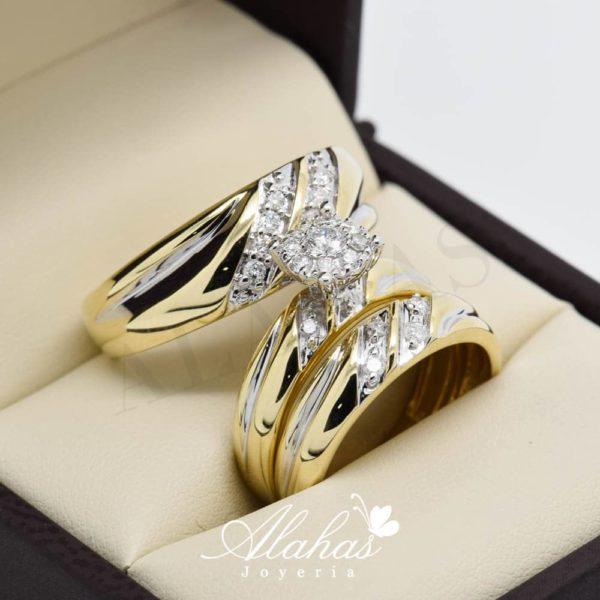Trio de boda en oro 14k con diamantes tdiam-011