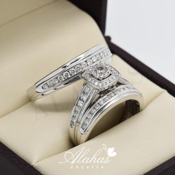 Trio de boda en oro 14k con diamantes tdiam-012