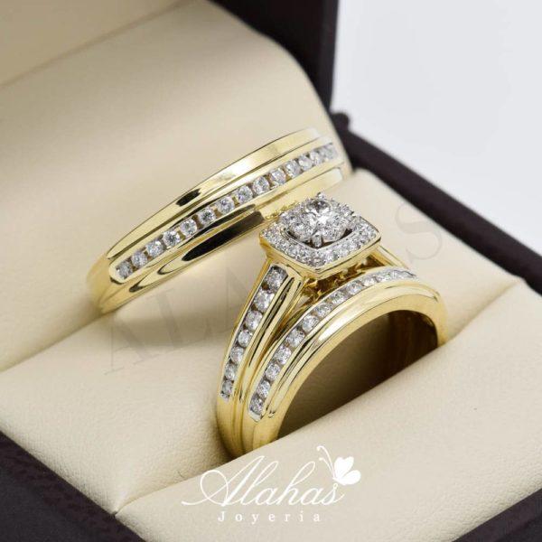 Trio de boda en oro 14k con diamantes tdiam-017
