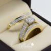 Trio de boda en oro 14k con diamantes tdiam-019