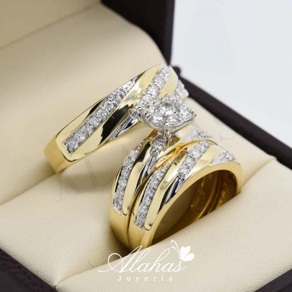 Trio de boda en oro 14k con diamantes tdiam-020