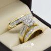 Trio de boda en oro 14k con diamantes tdiam-021