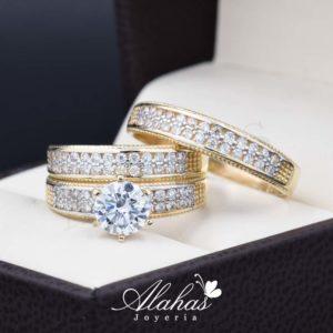 Trio de boda oro 14k Joyeria Alahas TROZ-003