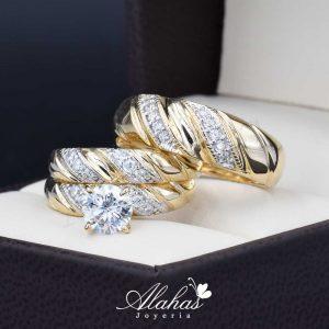 Trio de boda oro 14k Joyeria Alahas TROZ-004