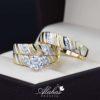 Trio de boda oro 14k Joyeria Alahas TROZ-014