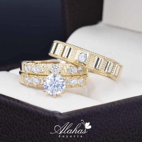 Trio de boda oro 14k Joyeria Alahas TROZ-015