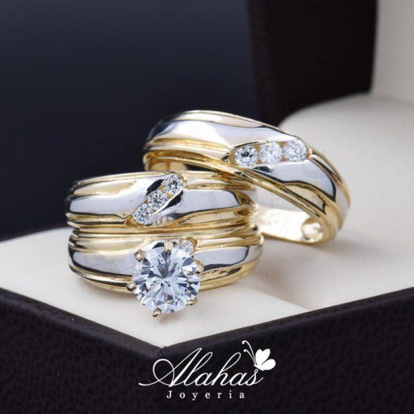 Trio de boda oro 14k Joyeria Alahas TROZ-027
