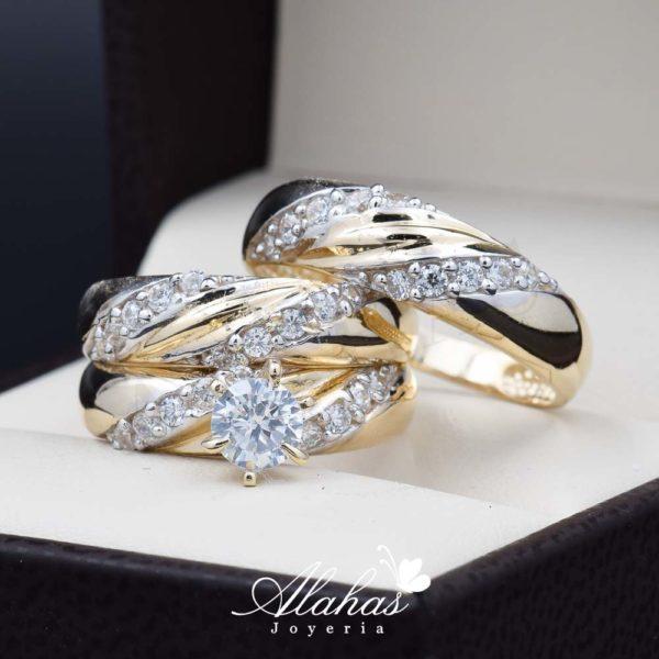 Trio de boda oro 14k Joyeria Alahas TROZ-030
