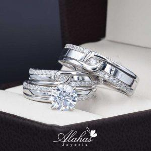 Trio de boda oro 14k Joyeria Alahas TROZ-031