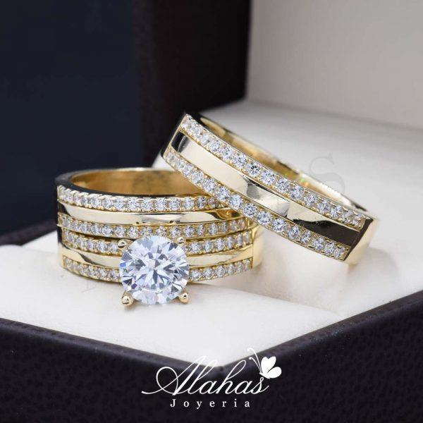 Trio de boda oro 14k Joyeria Alahas TROZ-034