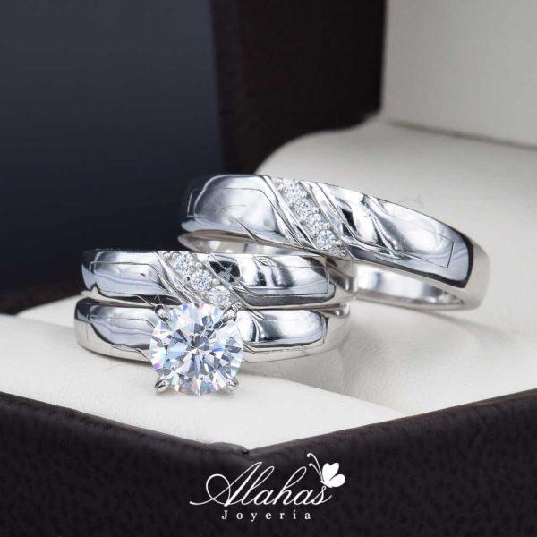 Trio de boda oro 14k Joyeria Alahas TROZ-035