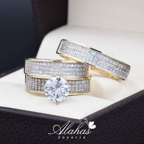 Trio de boda oro 14k Joyeria Alahas TROZ-036
