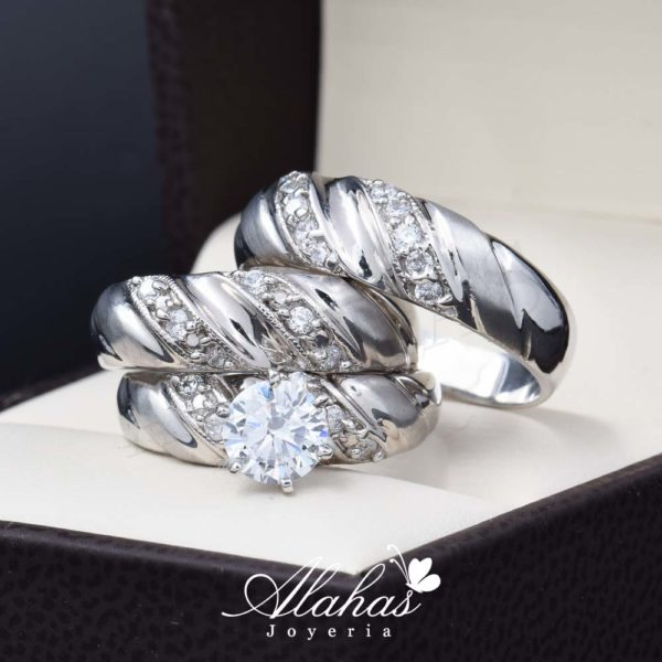 Trio de boda oro 14k Joyeria Alahas TROZ-038
