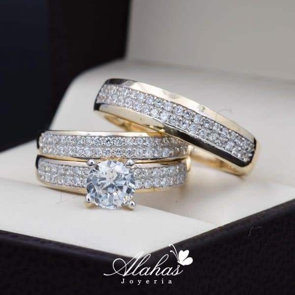 Trio de boda oro 14k Joyeria Alahas TROZ-039