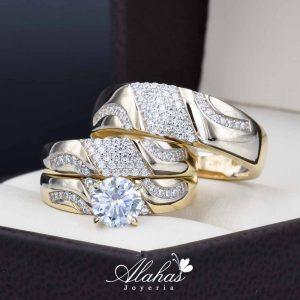 Trio de boda oro 14k Joyeria Alahas TROZ-040