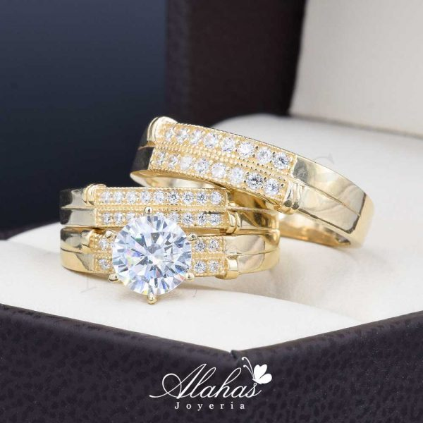 Trio de boda oro 14k Joyeria Alahas TROZ-041