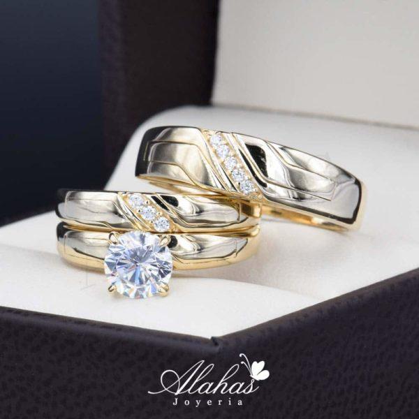 Trio de boda oro 14k Joyeria Alahas TROZ-043