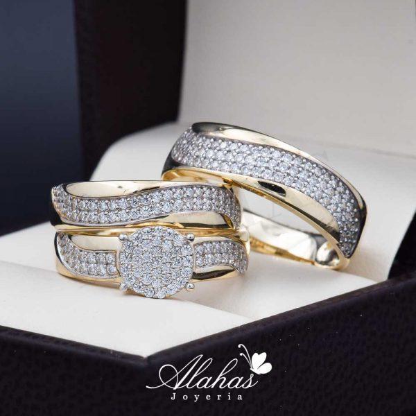 Trio de boda oro 14k Joyeria Alahas TROZ-045