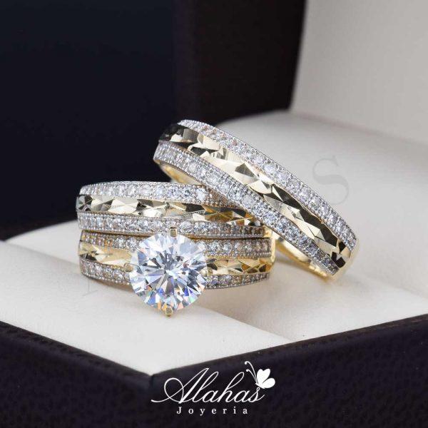 Trio de boda oro 14k Joyeria Alahas TROZ-046