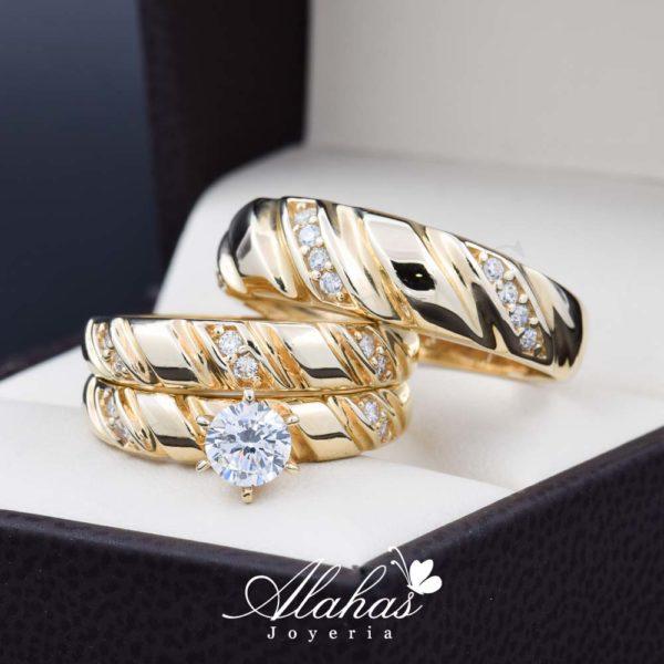 Trio de boda oro 14k Joyeria Alahas TROZ-049