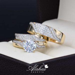 Trio de boda oro 14k Joyeria Alahas TROZ-050