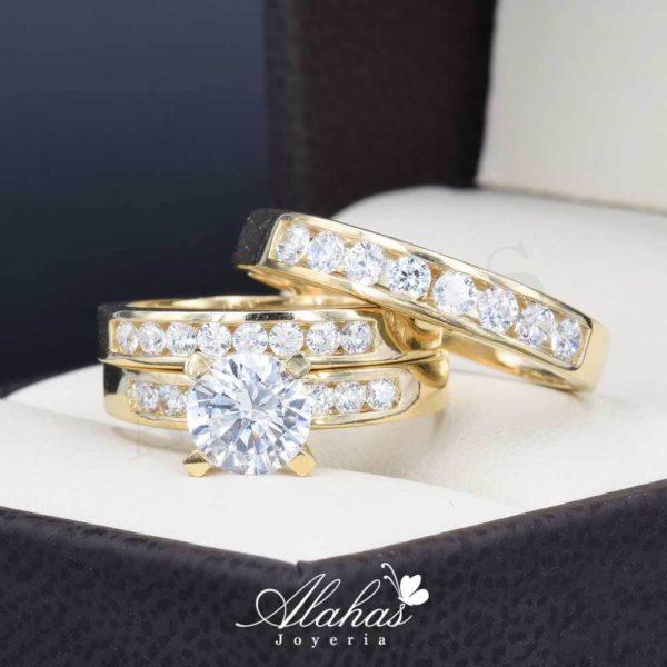 Trio de boda oro 14k Joyeria Alahas TROZ-051