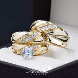 Trio de boda oro 14k Joyeria Alahas TROZ-053