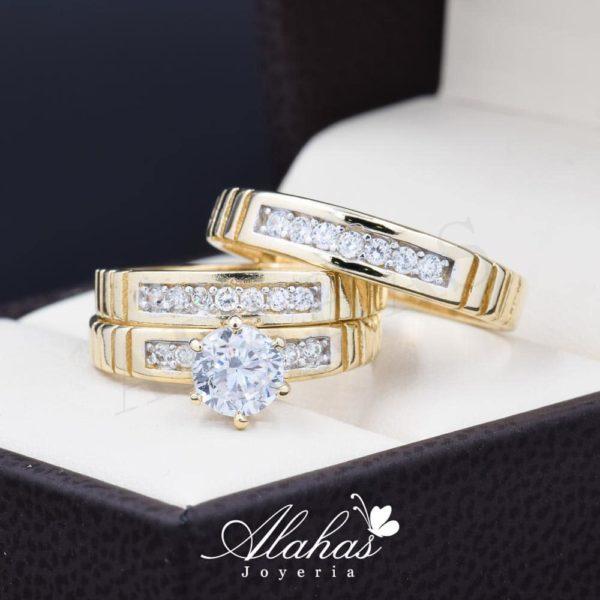 Trio de boda oro 14k Joyeria Alahas TROZ-055
