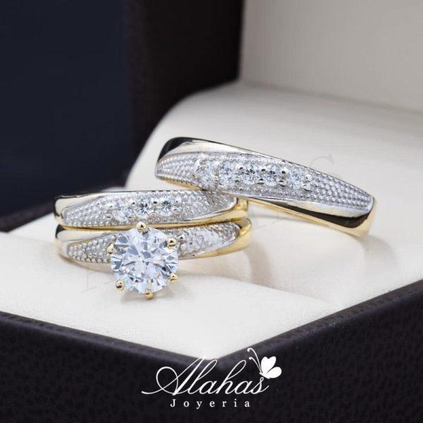 Trio de boda oro 14k Joyeria Alahas TROZ-059