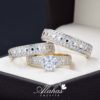 Trio de boda oro 14k Joyeria Alahas TROZ-061
