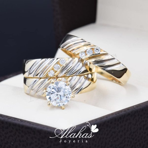 Trio de boda oro 14k Joyeria Alahas TROZ-063