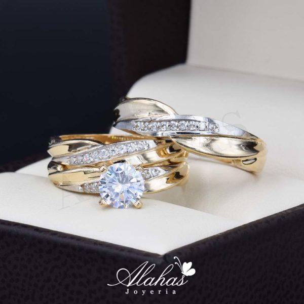 Trio de boda oro 14k Joyeria Alahas TROZ-066