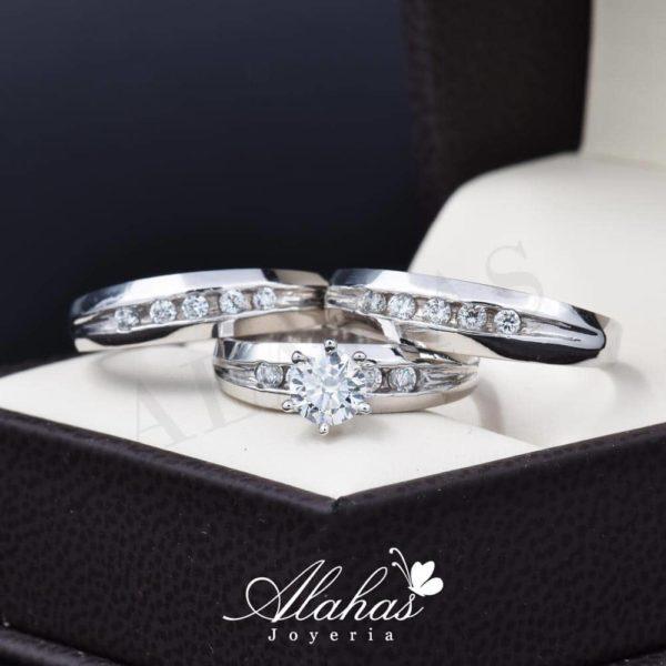 Trio de boda oro 14k Joyeria Alahas TROZ-071