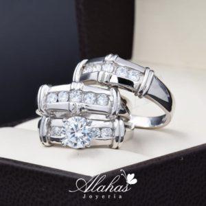 Trio de boda oro 14k Joyeria Alahas TROZ-074