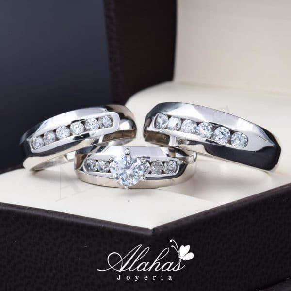 Trio de boda oro 14k Joyeria Alahas TROZ-075