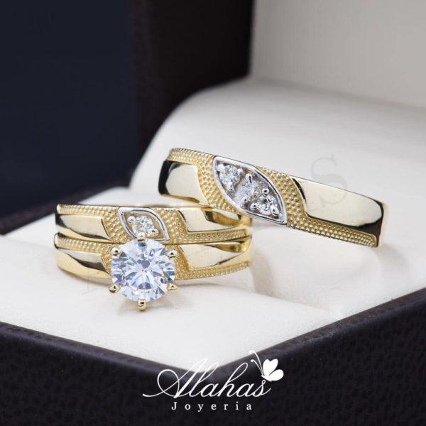 Trio de boda oro 14k Joyeria Alahas TROZ-079