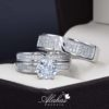 Trio de boda oro 14k con zirconias troz-054