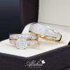 Trio de boda oro 14k con zirconias troz-056