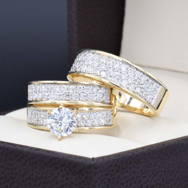 Trio de boda oro 14k con zirconias troz-068