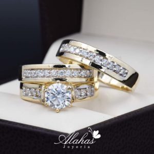 Trio de boda Oro 14k con zirconias troz-069
