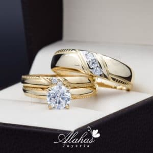 Trio de boda oro 14k con zirconias troz-076