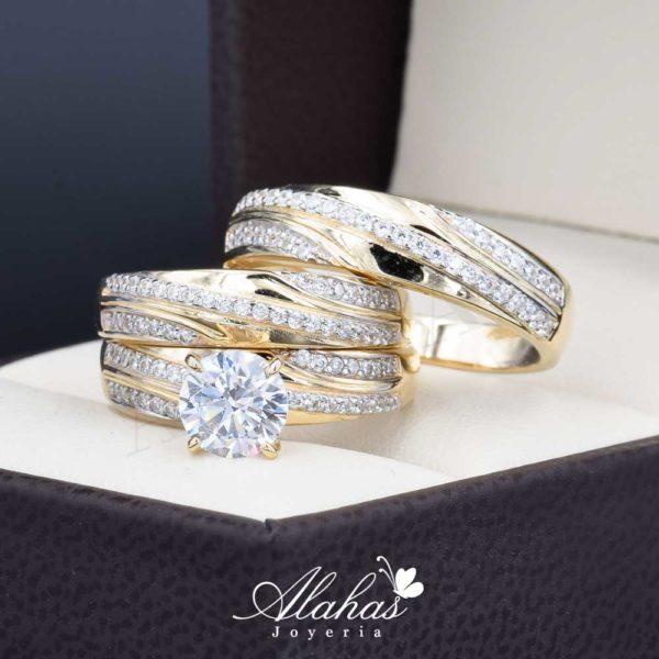 Trio de boda oro 14k con zirconias troz-077