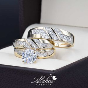 Trio de boda oro 14k con zirconias troz-081