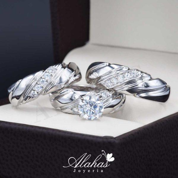 Trio de boda oro 14k con zirconias troz-082