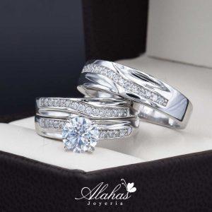Trio de boda oro 14k con zirconias troz-083
