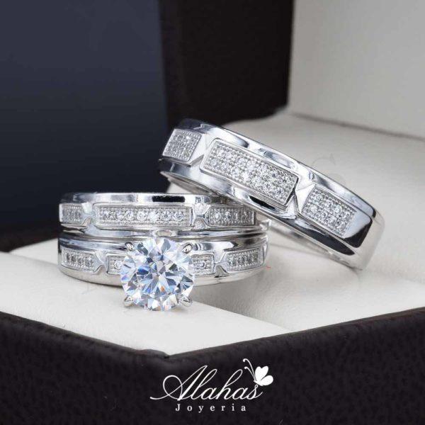 Trio de boda oro 14k con zirconias troz-085