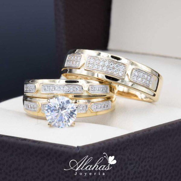 Trio de boda oro 14k con zirconias troz-086