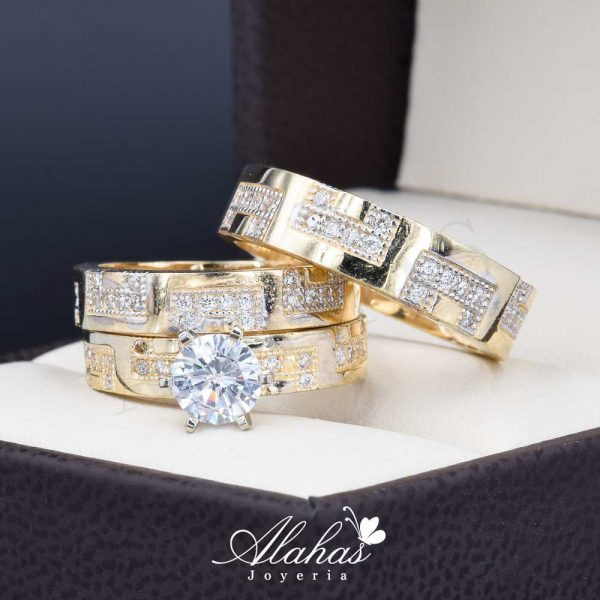Trio de boda oro 14k con zirconias Troz-090