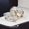 Trio de boda oro 14k con zirconias Troz-092